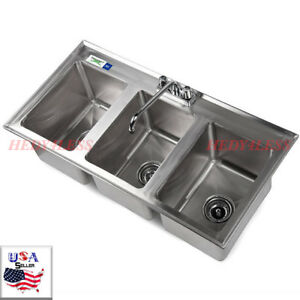 Regency 3 compartment 37 X 19 Stainless Steel Kitchen Drop in Sink Fast Shippi
