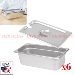 6 pack 1 3 Size 4 Deep Stainless Steel Steam Table Hotel Pan W Pan Lid Covers