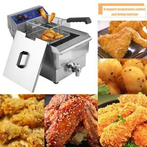 1 65kw Stainless Steel Electric Deep Fryer Dual Tanks Commercial Tabletop 13l Ei