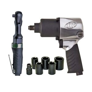 Impact And Ratchet Air Tool Kit Ergonomic Grip Variable Speed Trigger Power Tool