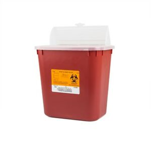 Case Of 20 Multi purpose Sharps Container 2 Gallon Red free Shipping