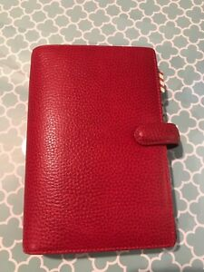 Filofax Personal Planner Finsbury Diary Cherry Red Leather Organiser