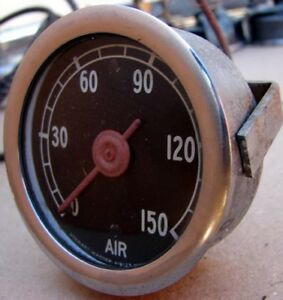 Vintage Old School Large Dome Lens Stewart Warner 150 Lb Air Pressure Gauge