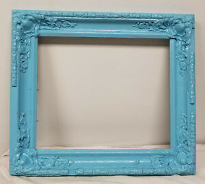 Antique Victorian Picture Painting Frame Decorative Painted Blue Chic And Shabby
