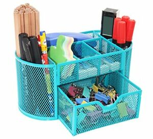 Mesh Desk Organizer Pen Holder With Drawer For Home Office Desktop Accessories