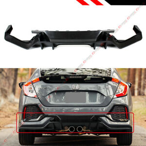 For 2016 18 Honda Civic Fk7 5d Hatchback Sport Type r Style Rear Bumper Diffuser