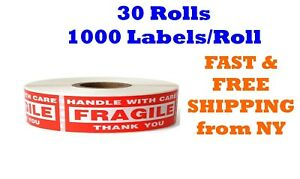 30 Rolls 30000 Labels 1 X 3 Fragile Handle With Care Stickers 1000 Per Roll