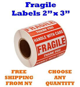 2x3 Fragile Stickers Handle With Care Thank You Mailing Labels 500 roll Quantity