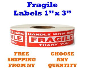 1x3 Fragile Stickers Handle With Care Thank You Mailing Label 1000 roll Quantity