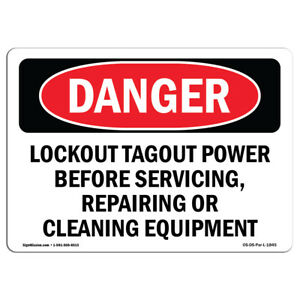 Osha Danger Lockout Tagout Power Servicing Repairing Sign Or Label