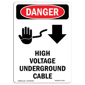 Osha Danger Sign High Voltage Underground Cable Heavy Duty Sign Or Label