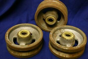 Three 3 Cast Iron V groove Wheel 5 Diameter X 2 Wide With 3 4 Axle Id Rolle