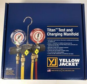 Yellow Jacket 49967 Titan Manifold 3 1 8 Gauges W hoses R22 404a 410a