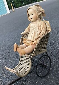 Antique Wicker Pull Carriage Doll Cart Victorian Rare