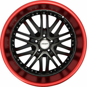 4 Gwg Wheels 20 Inch Black Red Lip Amaya Rims Fits Buick Regal Gs 2000 2004