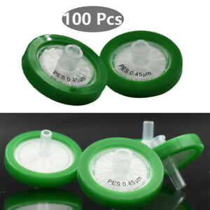 100pcs pack Pes Syringe Filter 0 45um 30mm Pp Housing Non sterilized Green Ring