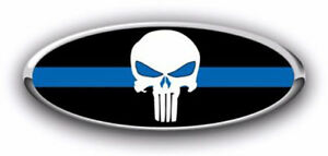 New Fits Various Ford Models Punisher Thin Blue Line Logo Overlay Decals 3pc Kit