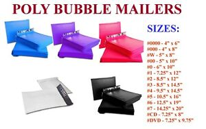 25 500 Poly Bubble Mailers 000 00 0 cd 1 2 3 4 5 6 7 Padded Envelope