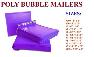 5 3000 Poly Bubble Mailers 000 00 0 cd 1 2 3 4 5 6 7 Purple Bags