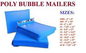 5 3000 Poly Bubble Mailers 000 00 0 cd 1 2 3 4 5 6 7 Blue Bags Seal