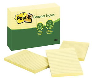 Post it Lined Recycled Paper Greener Notes 4 X 6 In Canary Yellow Pad Of 100