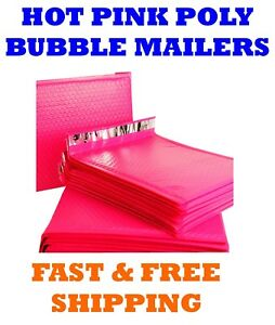 2 8 5x12 Hot Pink Poly Bubble Mailers Shipping Mailing Padded Envelopes Bags