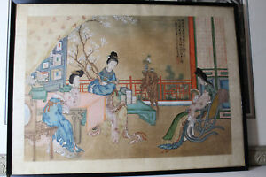 Chinese Silk Painting Antique Late19th Century And Early 20th Century