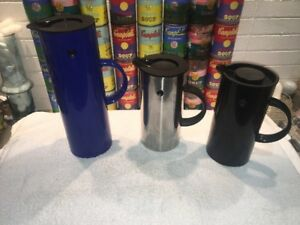 2 Stelton Stainless Blue Carafe Pitchers A Coffee Press Erik Magnussen