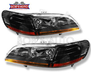For 1998 1999 2000 2001 2002 Honda Accord Jdm Black Factory Style Headlight Pair