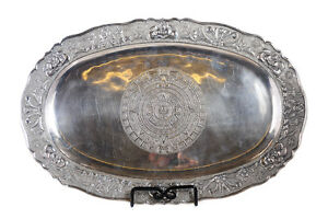 Peruvian 925 Sterling Silver Antique 19 Oval Tray W Elaborate Etchings
