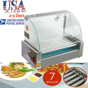Popular Roller Commercial 18hotdog Hot Dog 7roller Grill Cooker Machine W cover