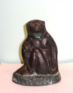Vintage Bronze Monkey Seated Figurine Statue Sculpture 6 Tall Patina