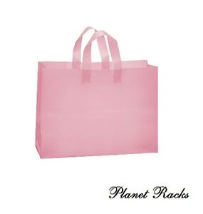 100 Planet Racks Large 16 X 6 X 12 Plastic Frosted Pink Shopping Bags