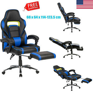Executive Swivel Office Chair Race Car Style Bucket Seat High Back W footrest Us