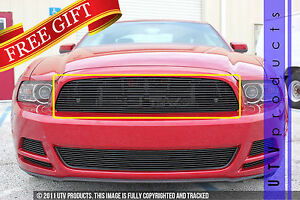 Gtg 2013 2014 Ford Mustang V6 1pc Gloss Black Upper Replacement Billet Grille
