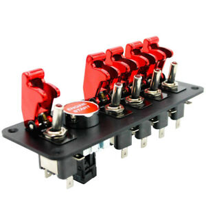 6 Gang Red Engine Start Push Button Switch Panel Race Car Ignition Accessory