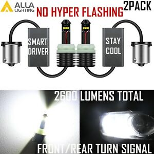 Alla Lighting Led 1156 Turn Signal Blinker Light Bulb White no Hyper Flashing 2x