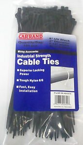 5000 Carrand 8 Inch 40 Lbs Tensile Uv Black Nylon Cable Wire Zip Ties