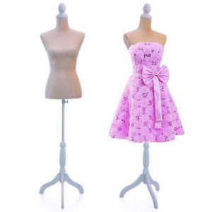 Beige Female Mannequin Dress Torso Form Display W White Tripod Stand