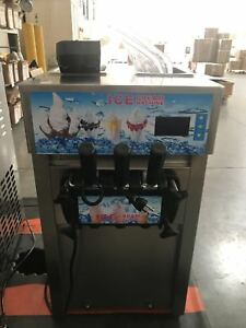 Open Box Commercial 3 Flavor Soft Ice Cream Frozen Cones Yogurt 110v Machine