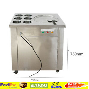 One Pan 6 Bucket Stainless Steel Fried Ice Cream Roll Machine Easy Move From Usa