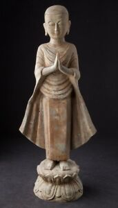 Middle 20th Century Old Bronze Monk Statue From Burma Antique Buddha Statues