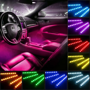 4pc 18 Color Led Glow Interior Car Kit Under Dash Footwell Smd Accent Lighting