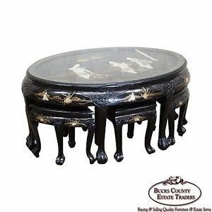 Vintage Mother Of Pearl Chinese Lacquer Oval Coffee Table W 6 Stools