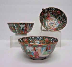 Set Of 3 Matching Chinese Canton Rose Medallion Rice Bowls 5