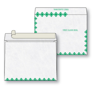 Tyvek 10 X 13 Booklet Style Open Side Envelopes 500 lot Green First Class Border