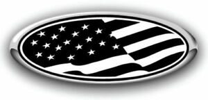 New Fits Various Ford Models American Flag Black Logo Overlay Decals 3pc Kit