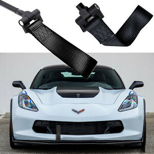 Black Racing Style Towing Strap Tow Hole Adapter For Chevy Corvette Z06 Zr1 Z51