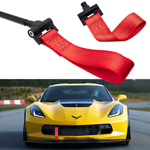 Red Jdm Style Towing Strap Tow Hole Adapter For Chevy Corvette 2014 2019