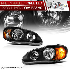 pre installed Led Low Beam 2003 2008 Toyota Corolla Headlights Black Lamps Set
